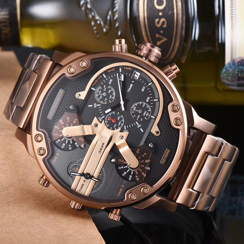 OEM 7313 custom 30 atm water resistant luxury men gold plated watch with stainless metal watch dz strap