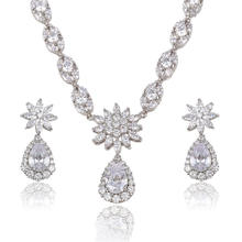 S-13 Xuping clear crystal cubic zircania jewelry set,custumn jewelry set,bridal jewelry