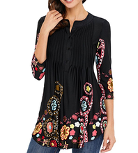 Womens 3/4 Sleeve Round Neck Floral Tunic Tops Loose Blouse Button Up Shirts