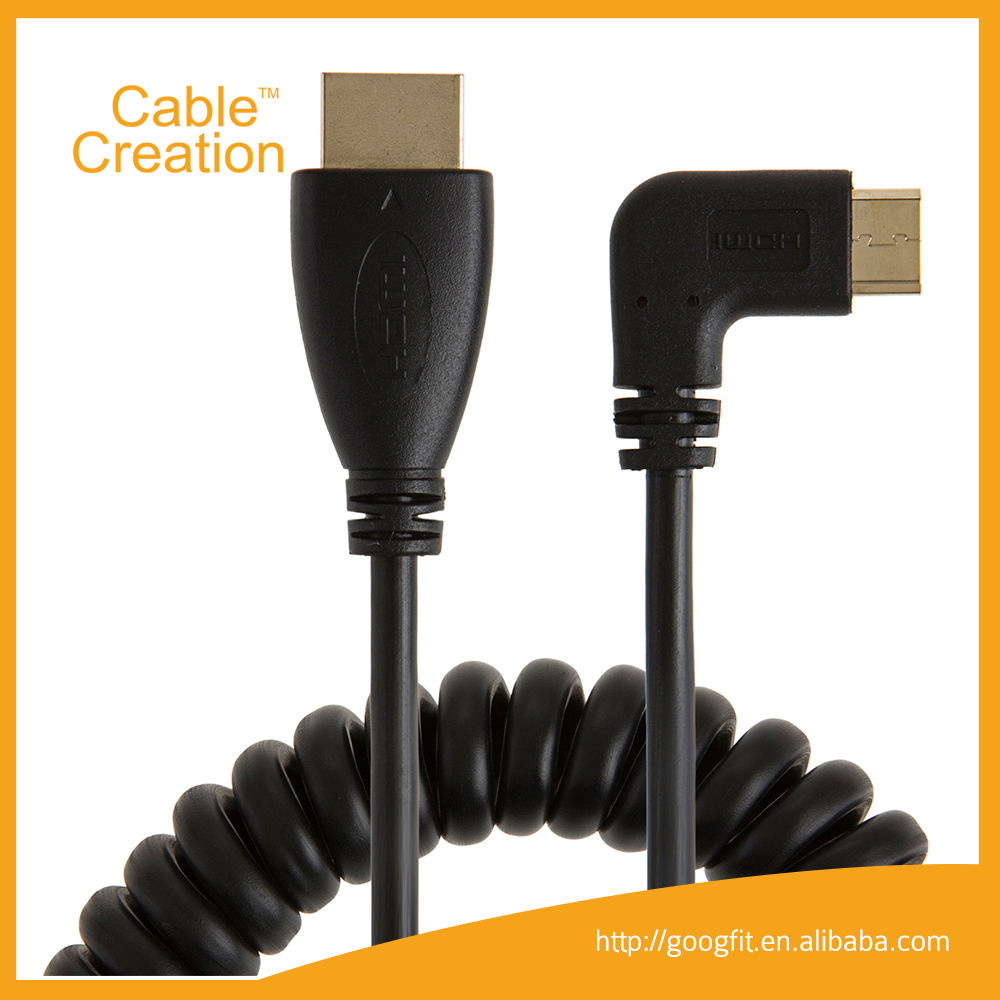 CableCreation 1-4FT 3D 1080P 코일 각도 HDMI C 유형 남성 HDMI 유형 남성 어댑터