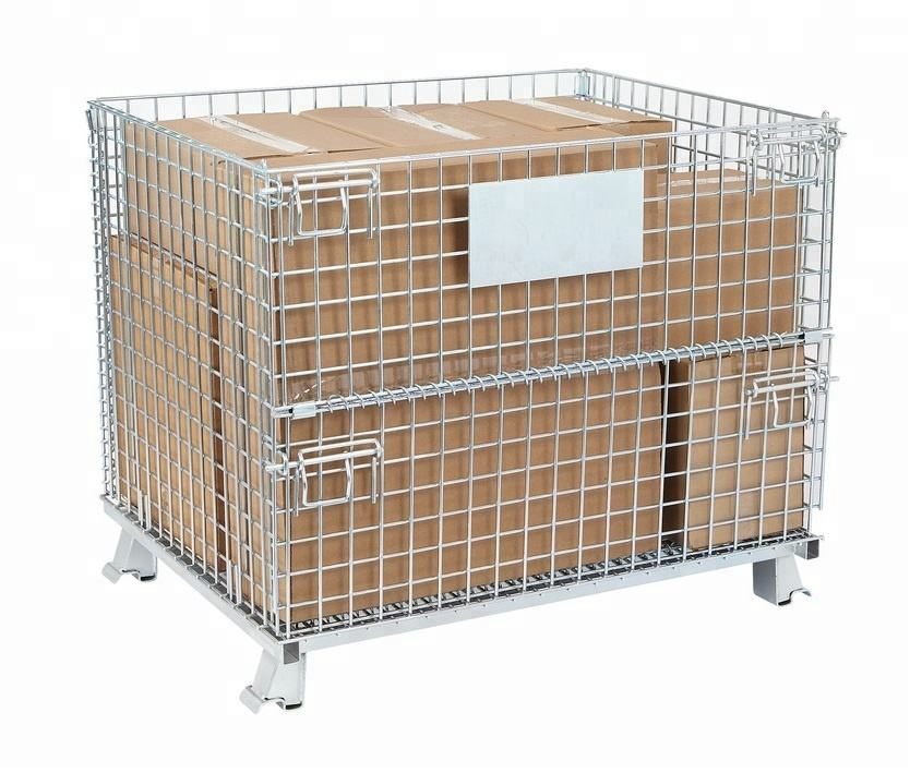 Metal Folding Collapsible Stacking Storage Pallet Cage Wire Mesh Container