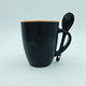 Matte black color ceramic coffee mug/cup with spoon in handle