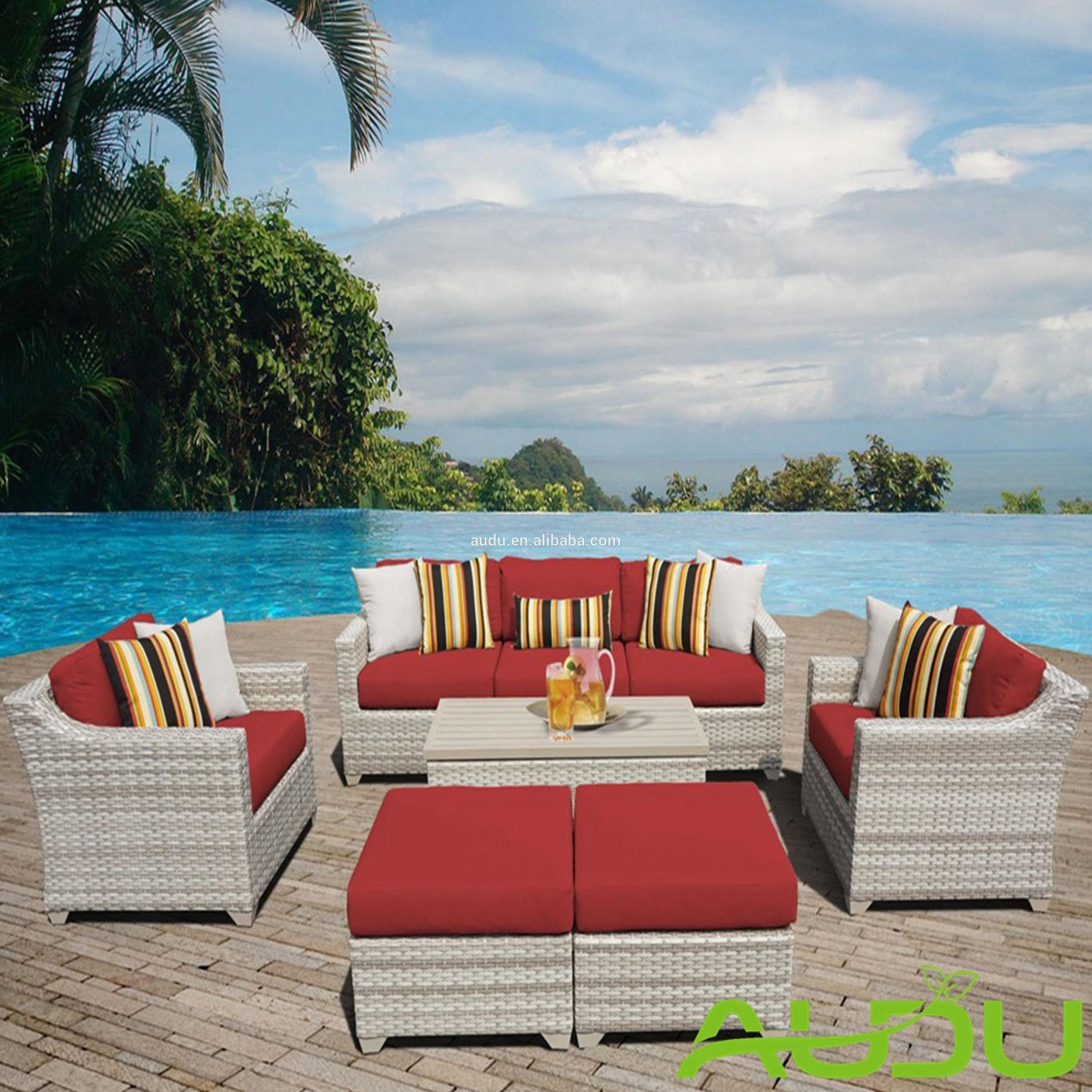2018 New Houston rattan sofa 5pc white wicker outdoor garden patio balcony furniture