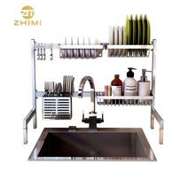 Custom Stainless Steel Standing Type Drying Kitchen Sink Rack Kitchen Storage Shelves