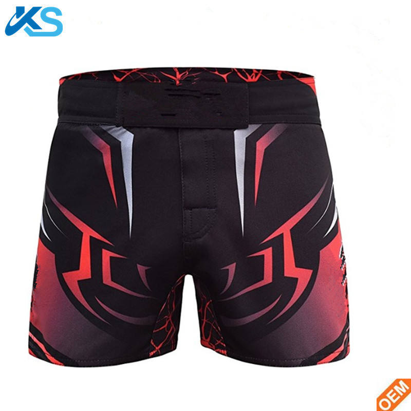 Split sublimation over 50% polyester mens red mma fight shorts