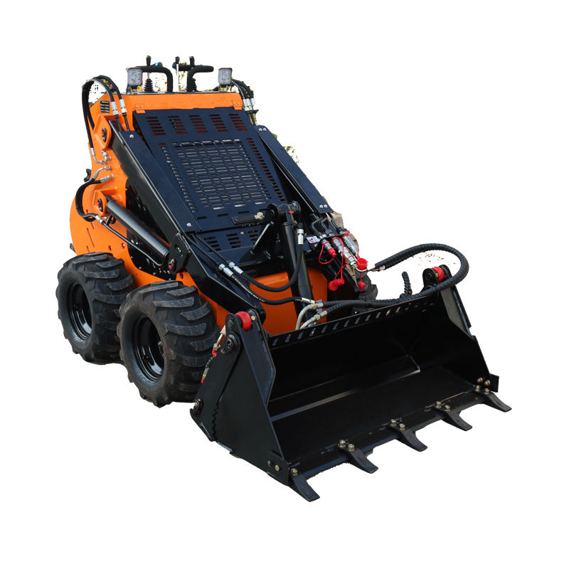 Mini skid steer loader with 4 in 1 bucket loading capacity 200-400kgs petrol engine working for garden farm