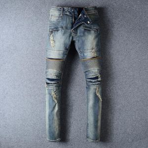 Royal wolf denim jeans manufacturer 2017 fashion blue vintage ripped biker jeans torn jeans men