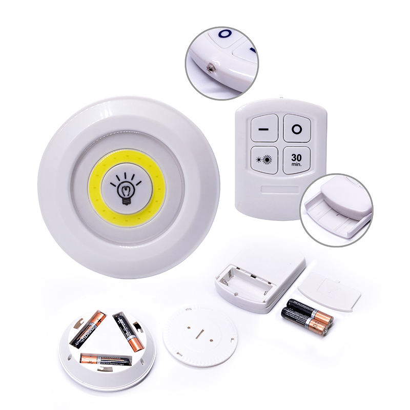 Free Sample 80 Lm Wireless Push Lights Battery Powered Lamp Led Night Light with Remote Control