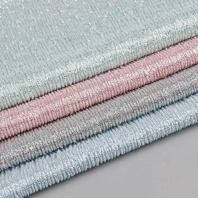 Custom made foil knitting loom lurex crushed knitted fabric 100 polyester knit fabric