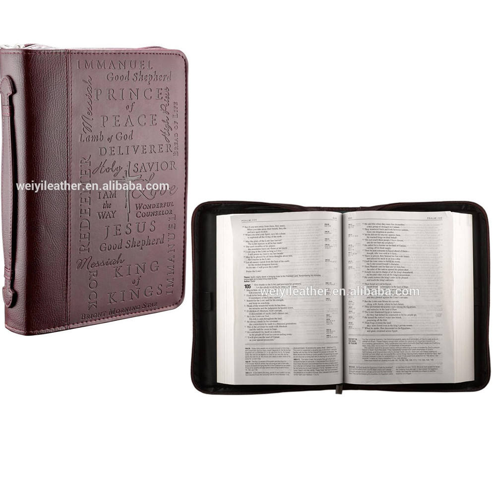 Handmade Leather Bible Covers With Handle and Zipper Holy Bible Covers