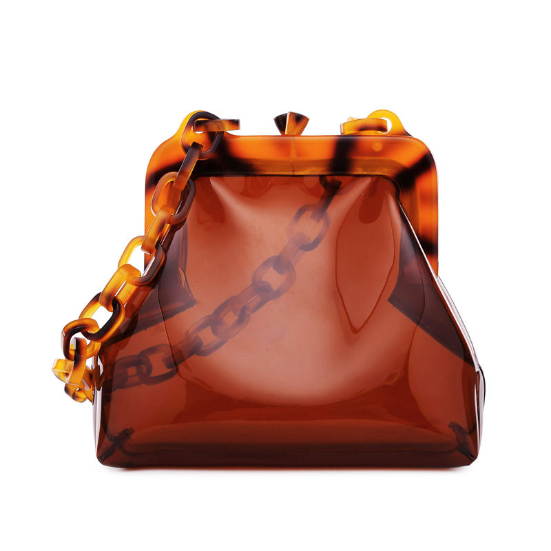 2020 luxury brand transparent bag clear pvc plastic bucket bag acrylic chains vintage women summer shoulder handbag