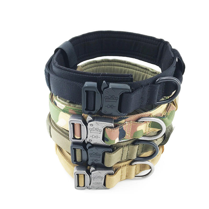 Medium Large Pet Metal Buckle Adjustable Nylon Army Military Tactical Dog Training Collar with Control Handle