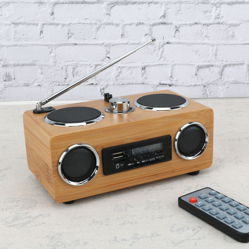 Gaya Klasik Wireless USB Bahan Bambu Bluetooth FM Radio Speaker