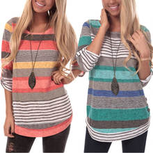 Womens Striped Sweatshirt Tunic Tops Long Sleeve Casual Crew Neck Blouse T Shirt Top