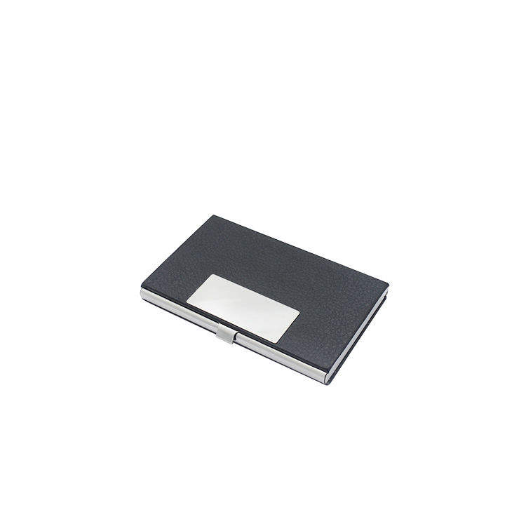 Fashion rfid blocking business name credit card holder in aluminum pu leather,high class pu leather business card holder