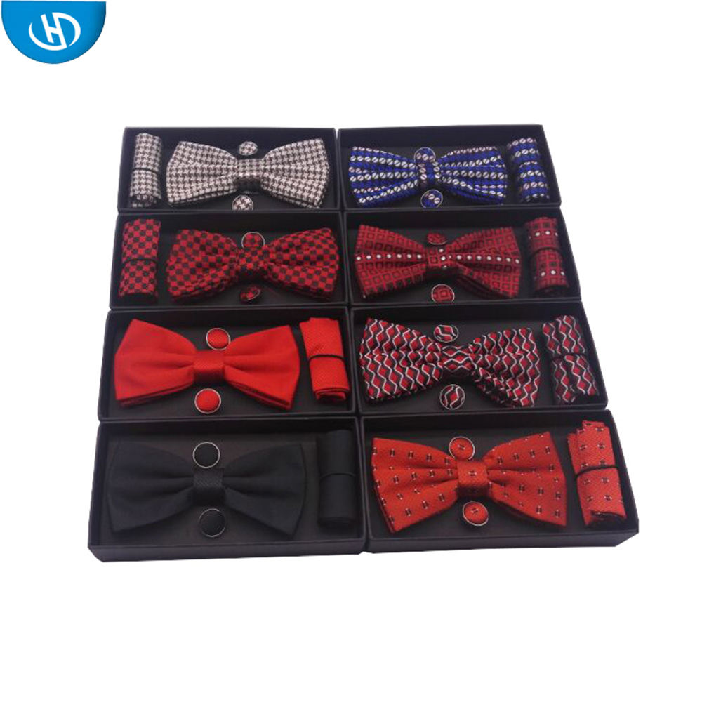 Manufacturer Wholesale Mixed Pattern Custom Logo Cheap Bowtie Set For Men