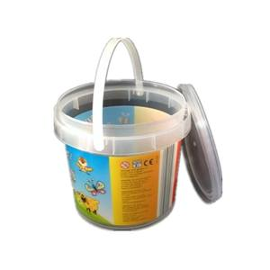 food grade 350ml round clear custom plastic bucket with lid with handle