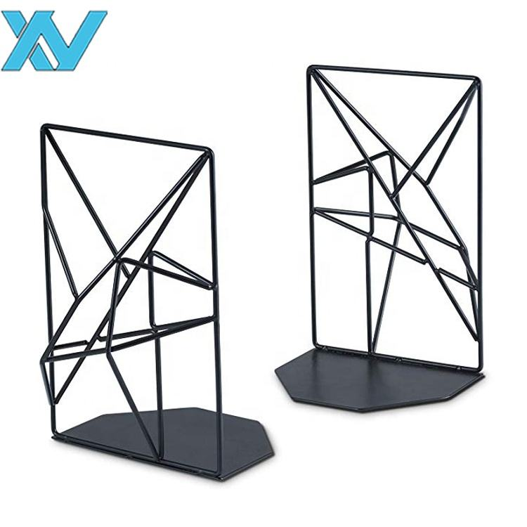 Creative Geometric Design Metal Wire Bookends(Black)