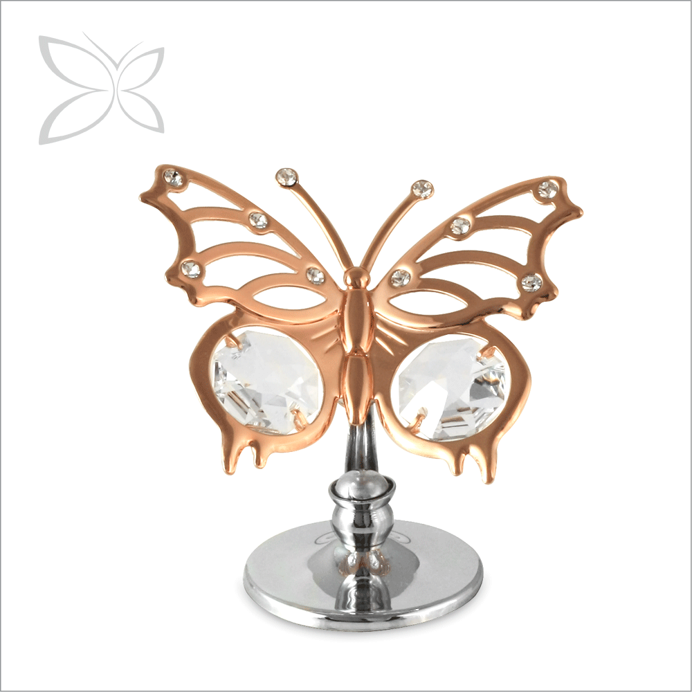 Gift [ Crystal ] Crystal Crystocraft Angelwing Butterfly Crystal Rose Gold Plated Metal Figurine Gifts For Wedding Favor