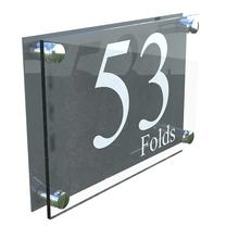 Clear wall mounted perspex house sign acrylic door sign