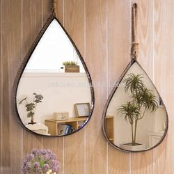 Wholesale loft industrial set of 2 wrought iron creative wind teardrops shape wall mirror for living room bathroom decoration