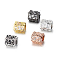 Copper micro set hexagonal beads accessories micro set zircon DIY bracelet necklace beads jewelry wholesale bracelet accessory