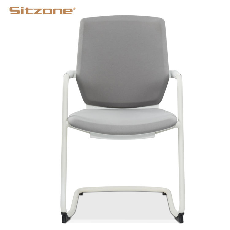 2020 Office Used White Color Plastic Frame Conference Chair without wheels