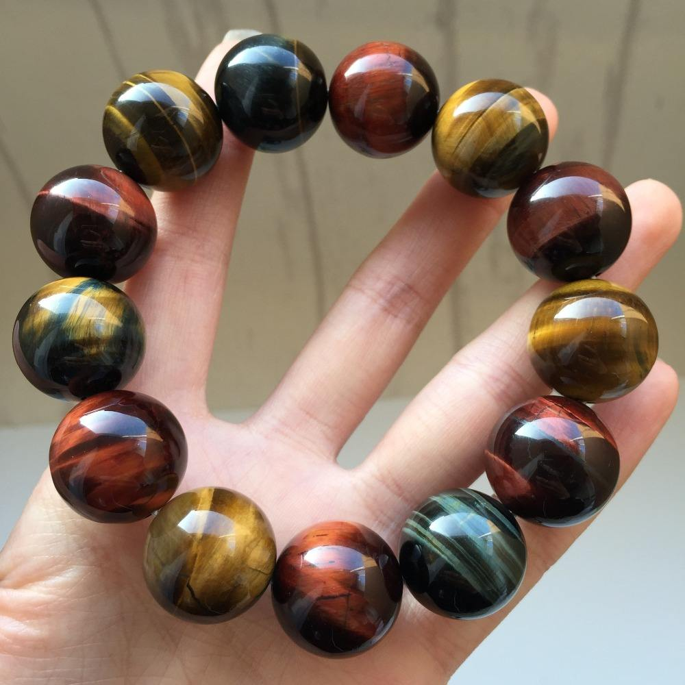colorful Exotic Male and female lovers fashion accessories Natural Tiger Eye Stone Bracelet
