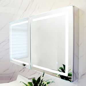 Modern Small Corner Waterproof LED Mirror Wall Mount Solid Wood Plywood Bathroom Cabinet
