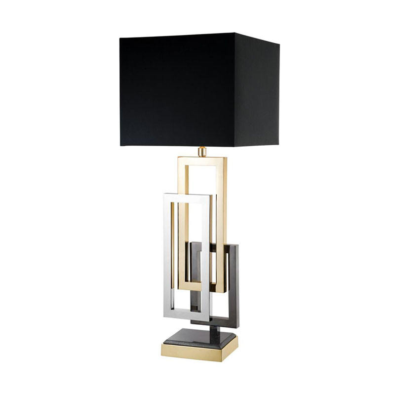 square iron frame abstract style gold black match desk table lamp with USB black linen lampshade for desk