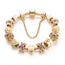 Best Gifit Charm Bracelet With Purple Austrian Rhinestone Fit Fashion Jewelry, DIY Women Jewelry Gold Bracelet