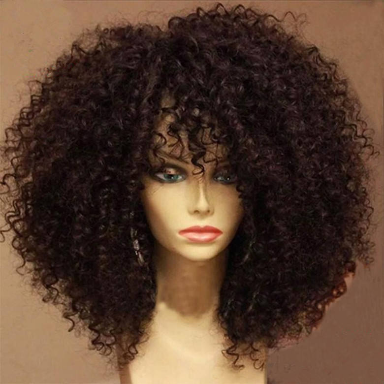 Wholesale 180% density brazilian afro 12inches kinky curly hair lace wig full lace wig for black women