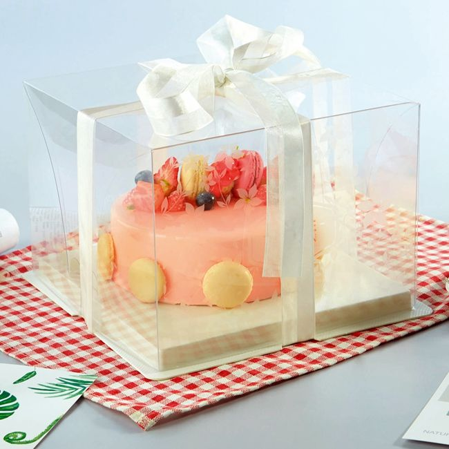 8 inch 10 inch plastic clear cake box with colorful cake board
