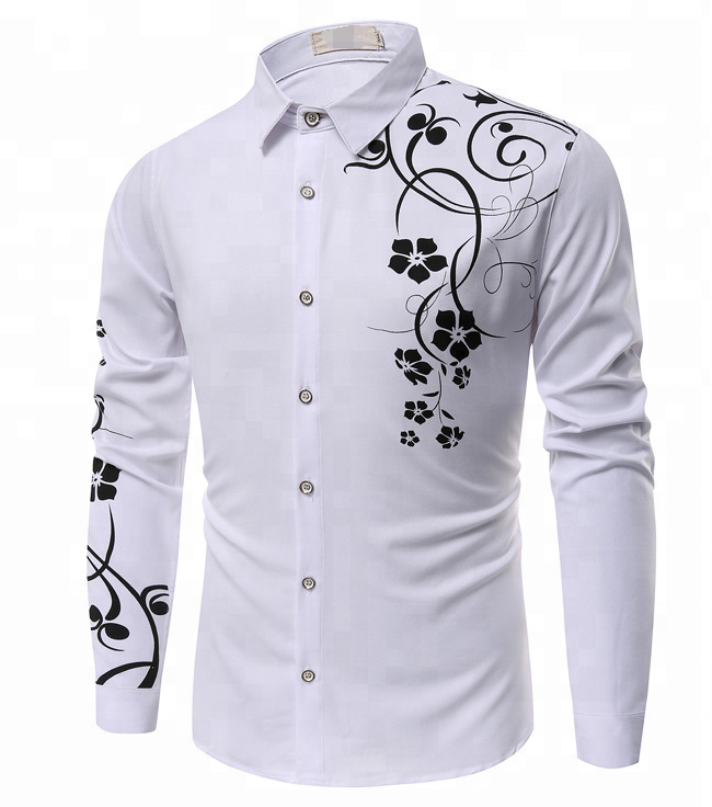 Professional white men casual floral shirt