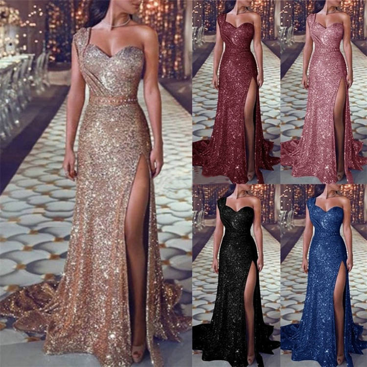 LF-29 Plus Size Party Dress One Shoulder Formal Evening Dress Long Party Wear Gowns for Women
