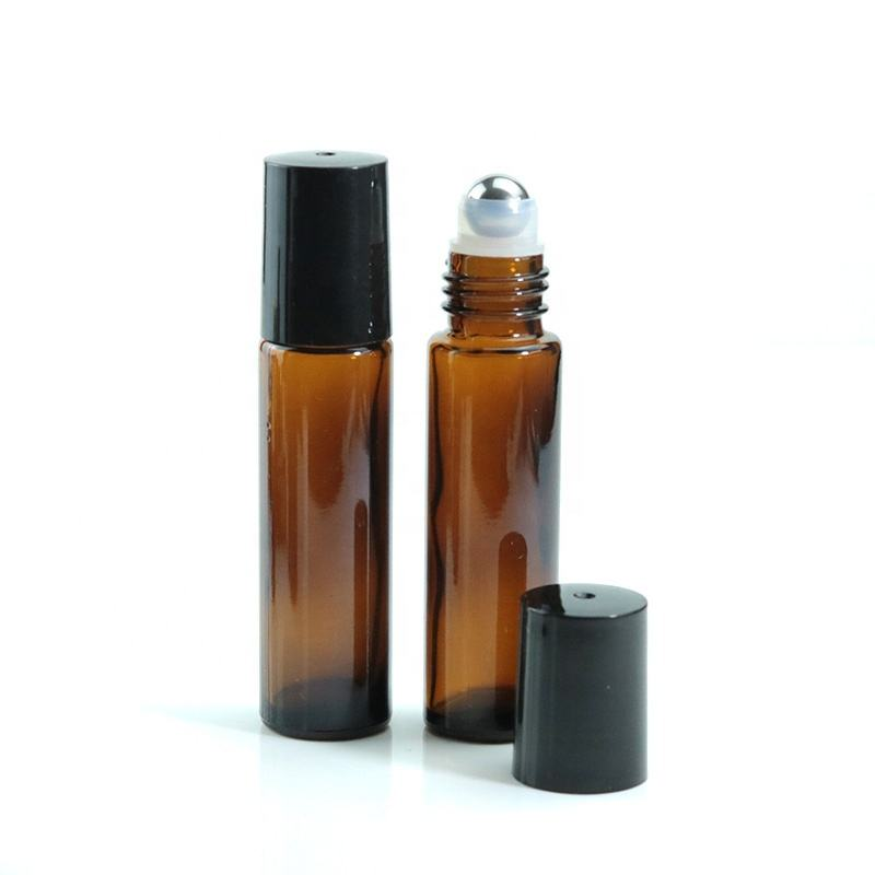 Wholesale 10ml Mini Slim Amber Essential Oil Bottle Glass Roll On Bottle With Metal Stainless Steel Roller Ball (NRB12)
