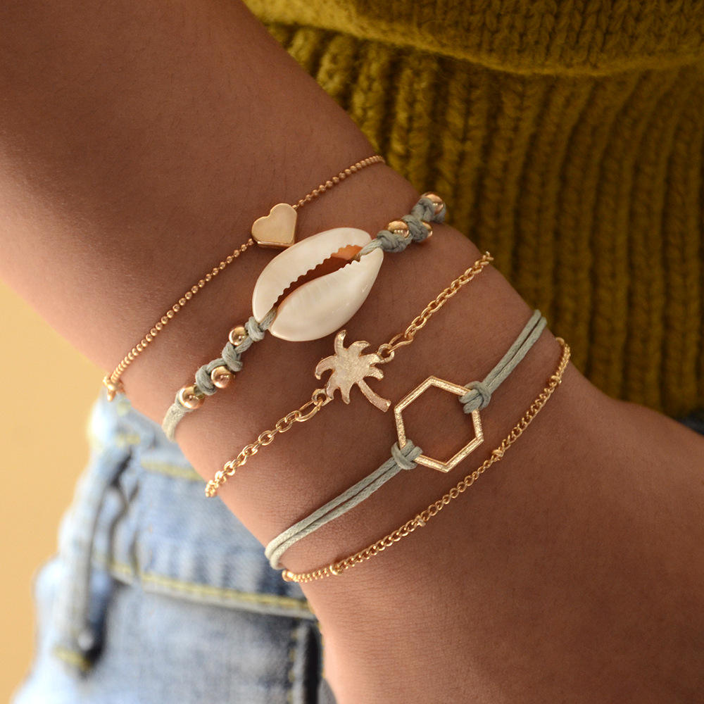 5pcs/set Bohemian natural shell hand woven bracelet coconut tree polygon heart bracelet