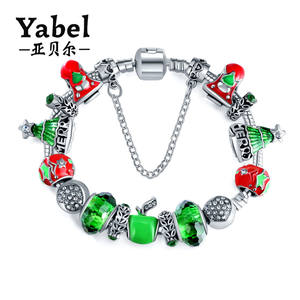 New Arrival Christmas Jewelry Murano Glass Beaded Charm Bracelet For Women 2017