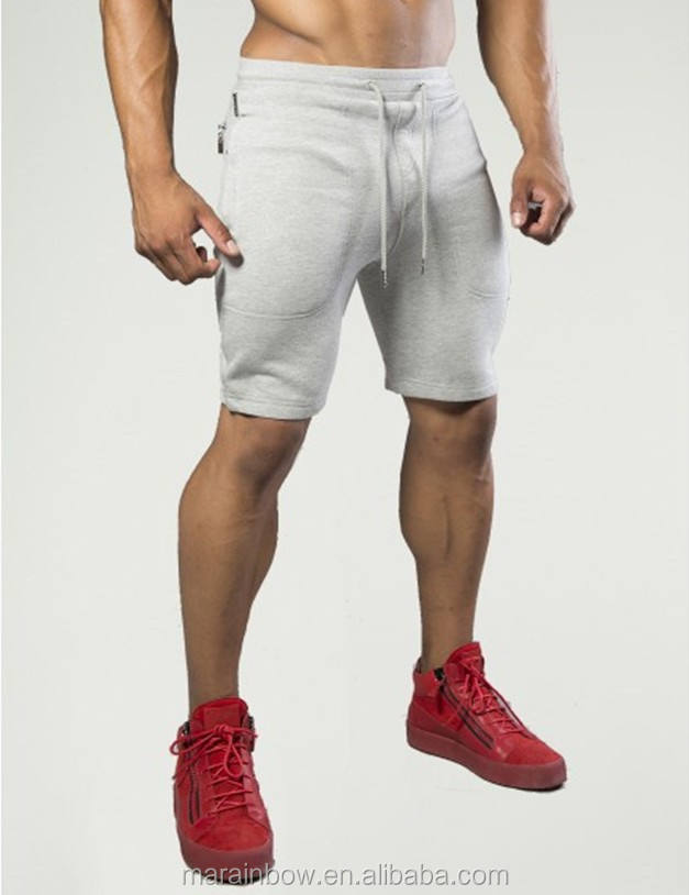 Tapered Mens Gym Shorts Soft 100% Cotton Fleece Sweat Shorts Light Gray Plain Jogger Shorts