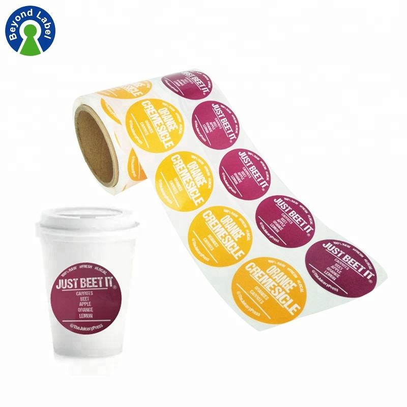 Self Adhesive Waterproof Food Labels Printing,Packed Coffee Cup Stickers for Plastic Cup Labels