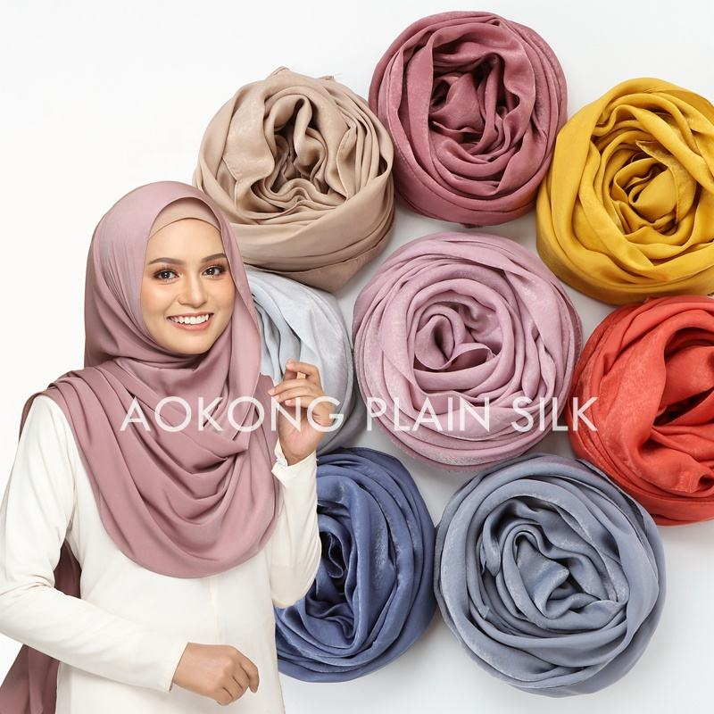 New style 23 colors high quality soft shinny glitter hijab scarf wraps shawl muslim solid plain silk satin scarf hijab