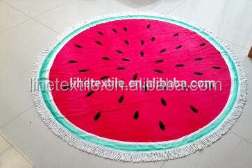 High quality soft cotton custom design printed round beach towel with tassels;OEM circle beach towel with tassels