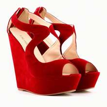 Fashion women sude high heel wedge sandals sexy girls wedding shoes