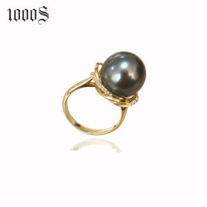 18K Gold Ring With Tahiti Seawater Pearls Diamond Wedding Ring for Women 1000s Jewelry