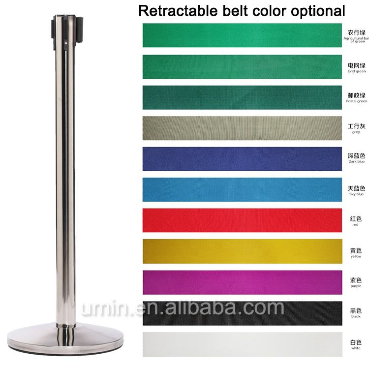 Stainless Steel Retractable Belt Poles, Hotel Crowd Control Barrier