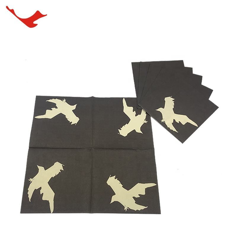 High Quality Folding Paper Tissue black beverage cocktail Napkin For Restaurant Use