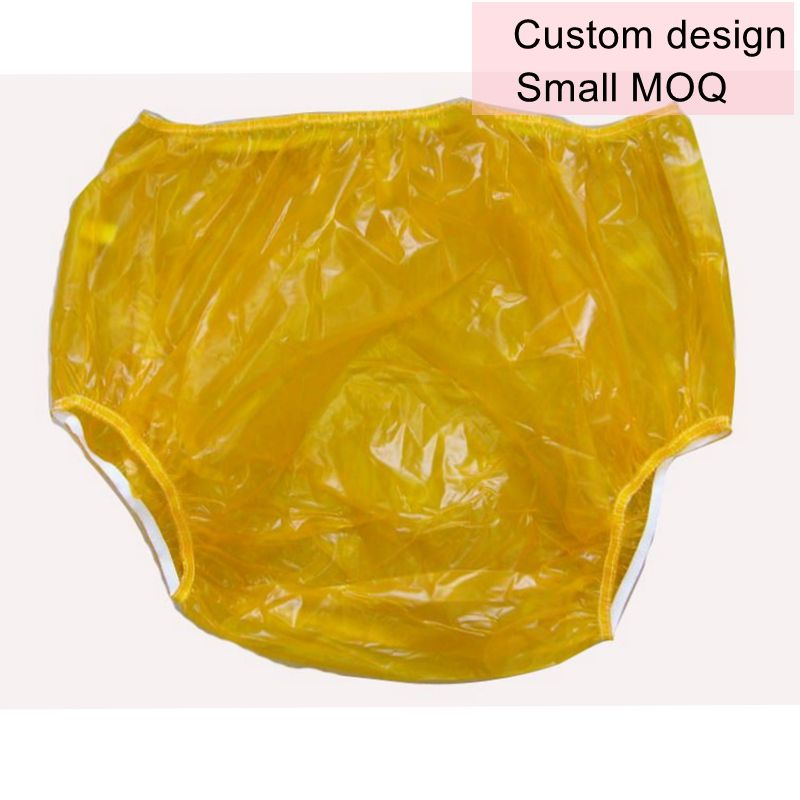 PVC Adult Baby Snaps Diaper Rubber Trousers Blue Transparent