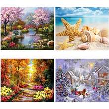 DIY 5D Diamond Painting Kit Full Diamond Painting Four Seasons Landscape Painting for Home Wall Decoration