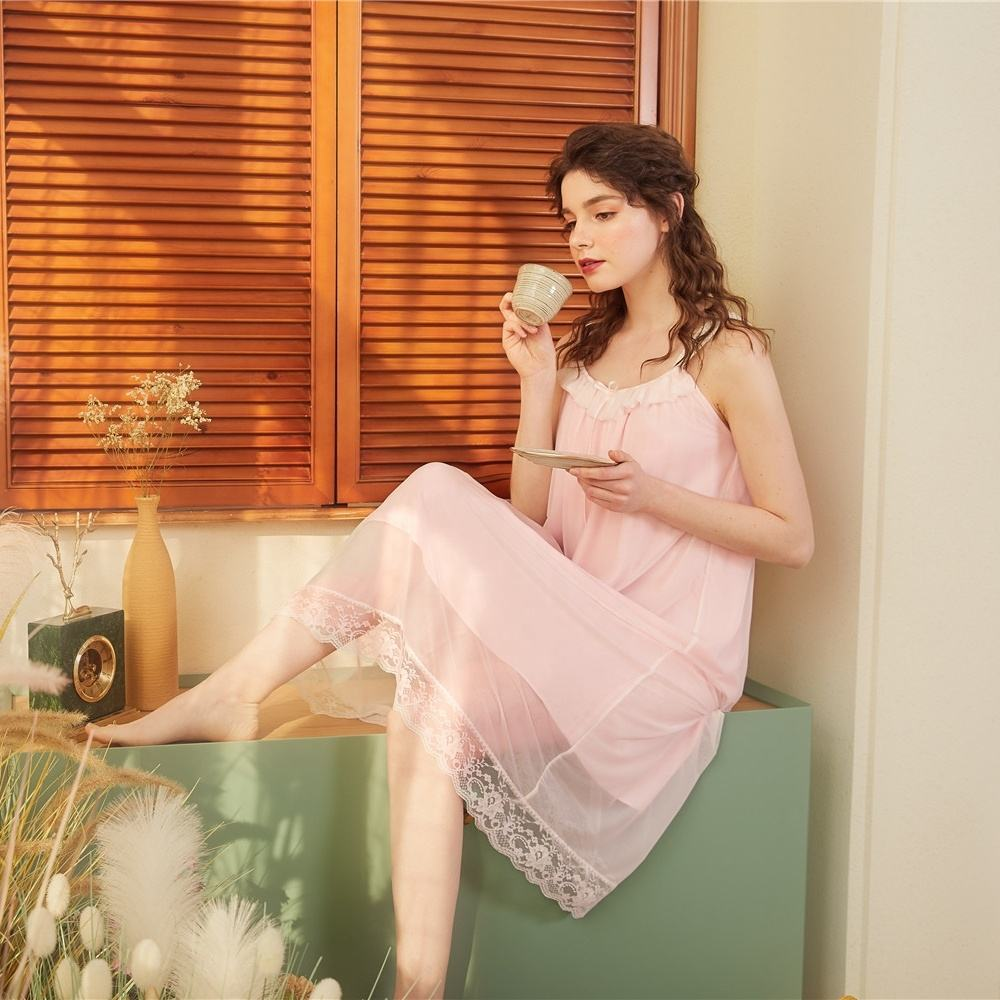 Loose Style Chemise Femme Elegant Cotton Nightgown Square Collar Mesh Vintage Sleepwear