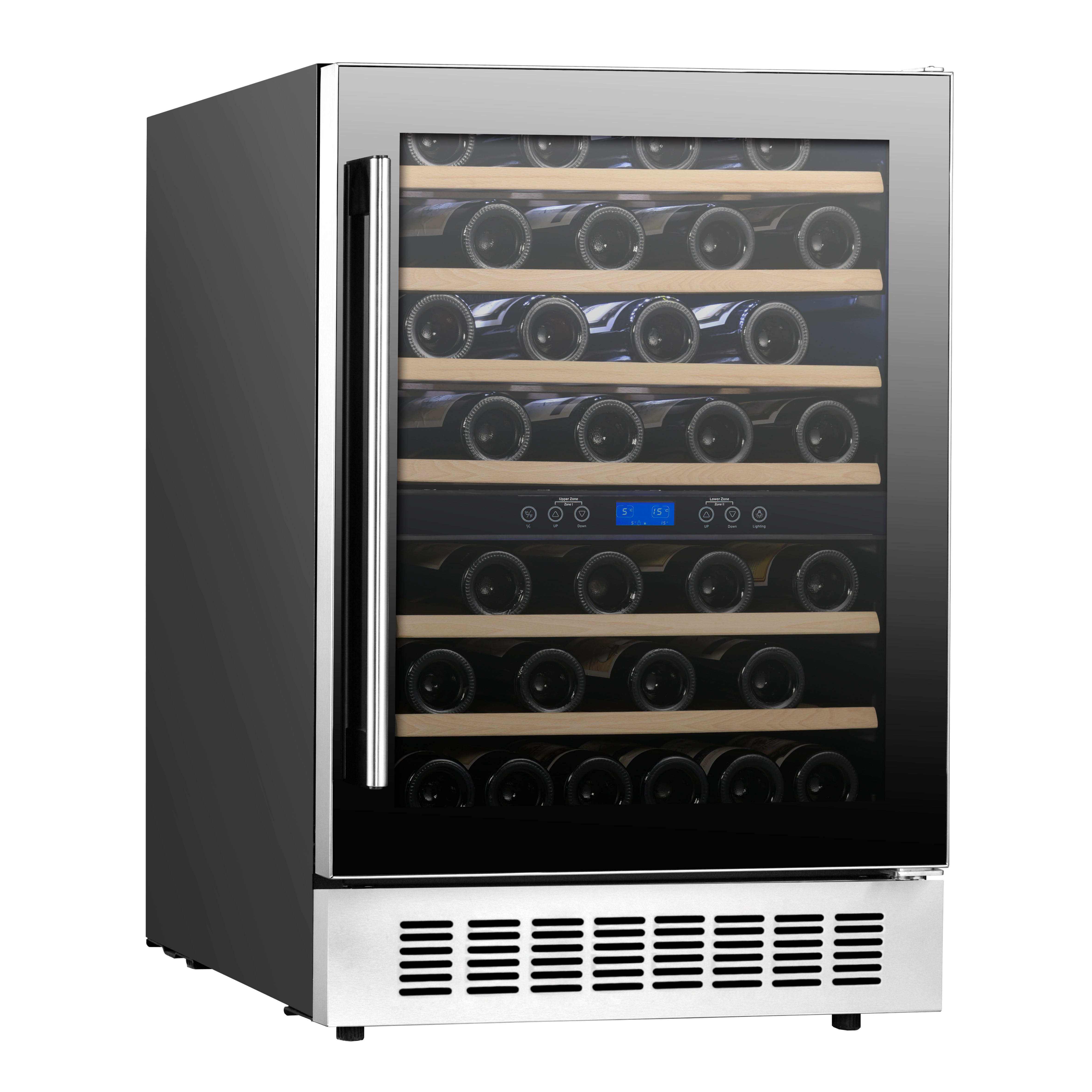 Commercial 54 Bottles 138L Compressor Cooling Humidor Single Zone Wine Glass Chiller